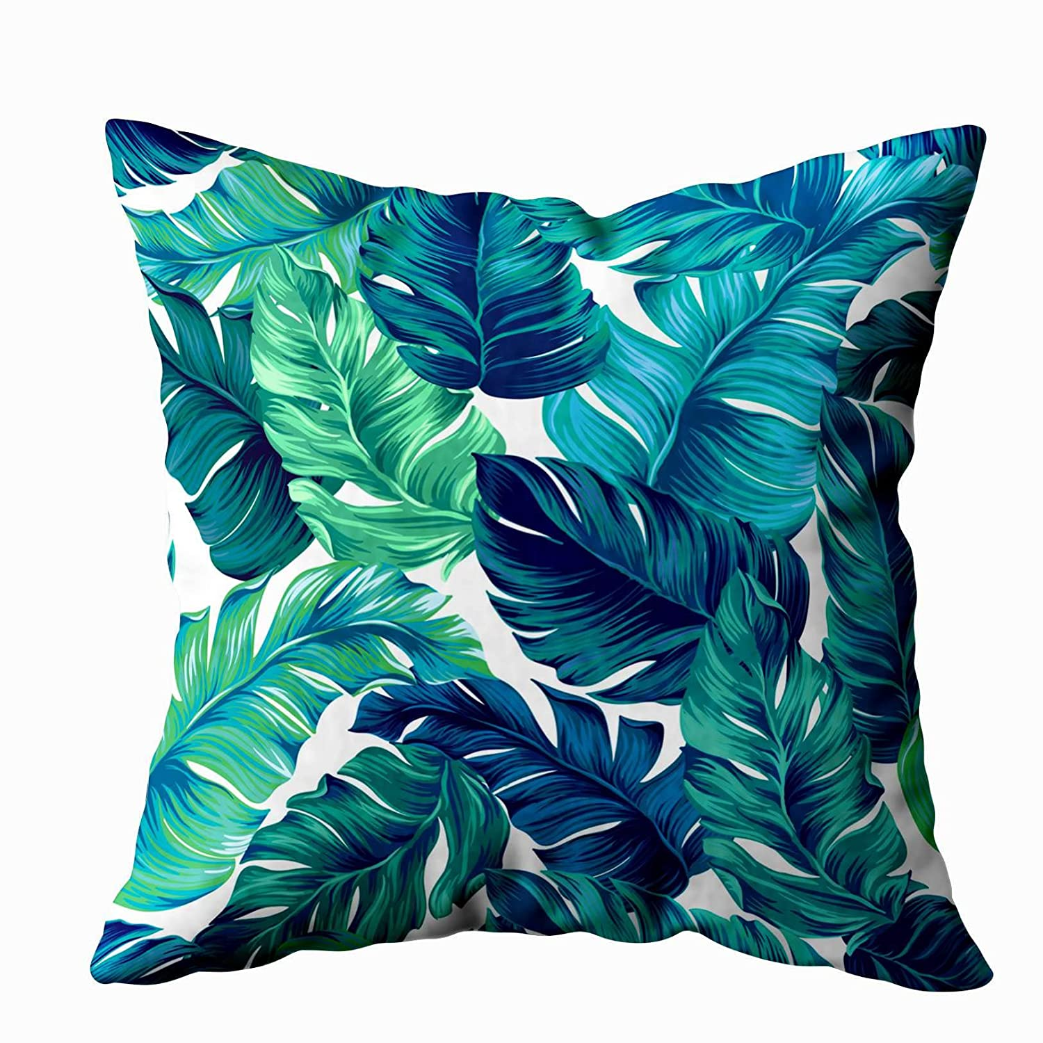 TOMWISH Standard Pillow Cases,TOMKEY Hidden Zippered 18X18Inch Turquoise Green Tropical Leaves Graphic Amazing Palms Fashion Interior Decor Throw ...