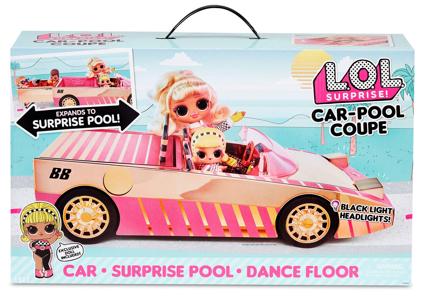 LOL Surprise Car-Pool Coupe with Exclusive Doll, Surprise Pool & Dance Floor with Magic Light Party, Multicolor
