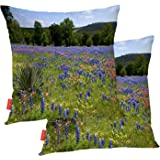 BaoNews Anchor Indian Pillow Covers, Field Texas Wildflowers with Anchor Indian Beautiful Square 18 x 18 Inches Decorative Throw Pillow Covers Cotton Cushion for Sofa Bedroom Car, Blue, Set of 2