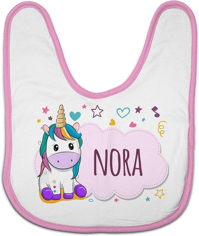 LolaPix Babero Unicornio Personalizado con Nombre o Texto. Regalos Recién Nacido. Varios Diseños a Elegir. Unicornio Rosa
