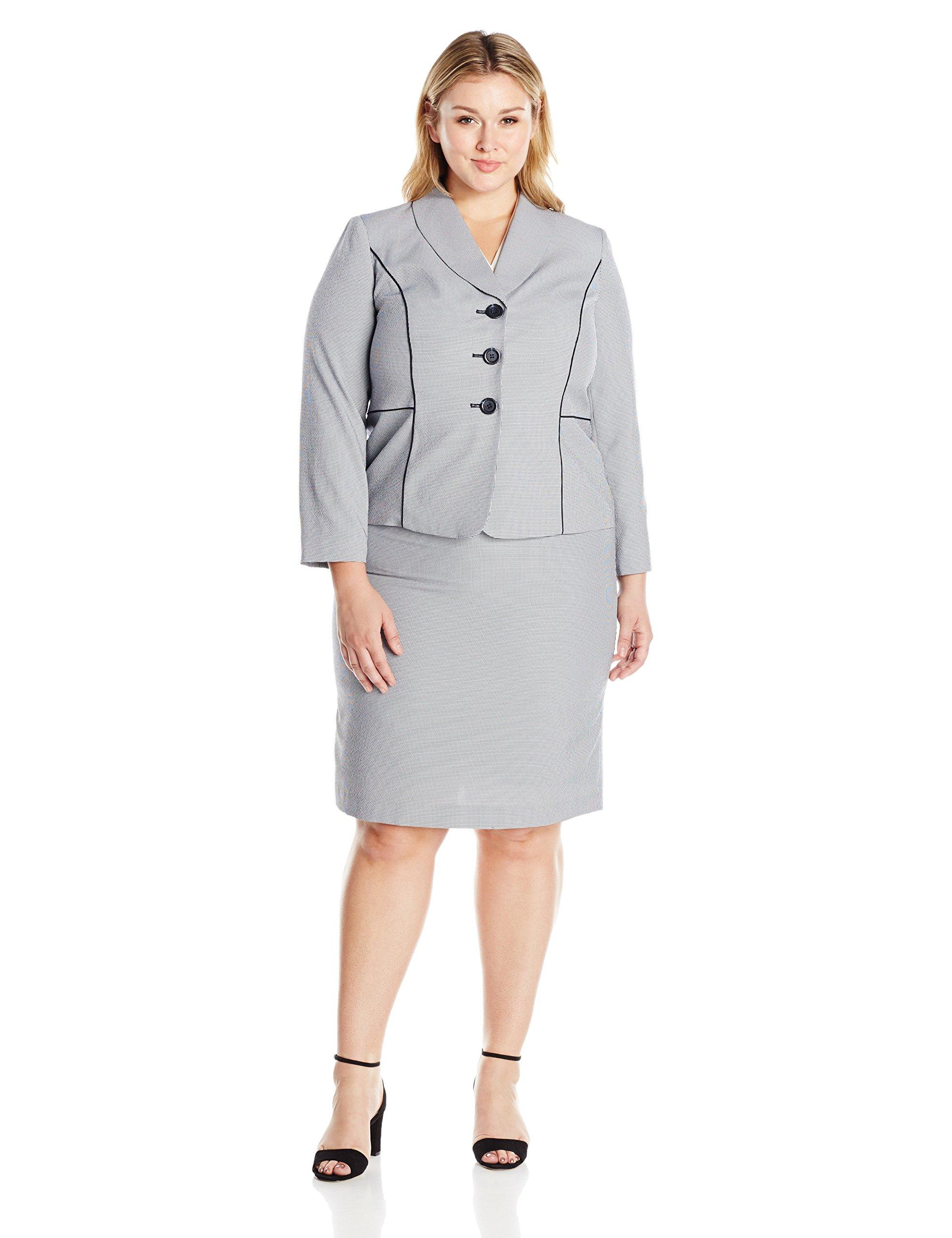 Le Suit Women's Plus Size Seersucker 3 Button Skirt, Navy Multi, 18W