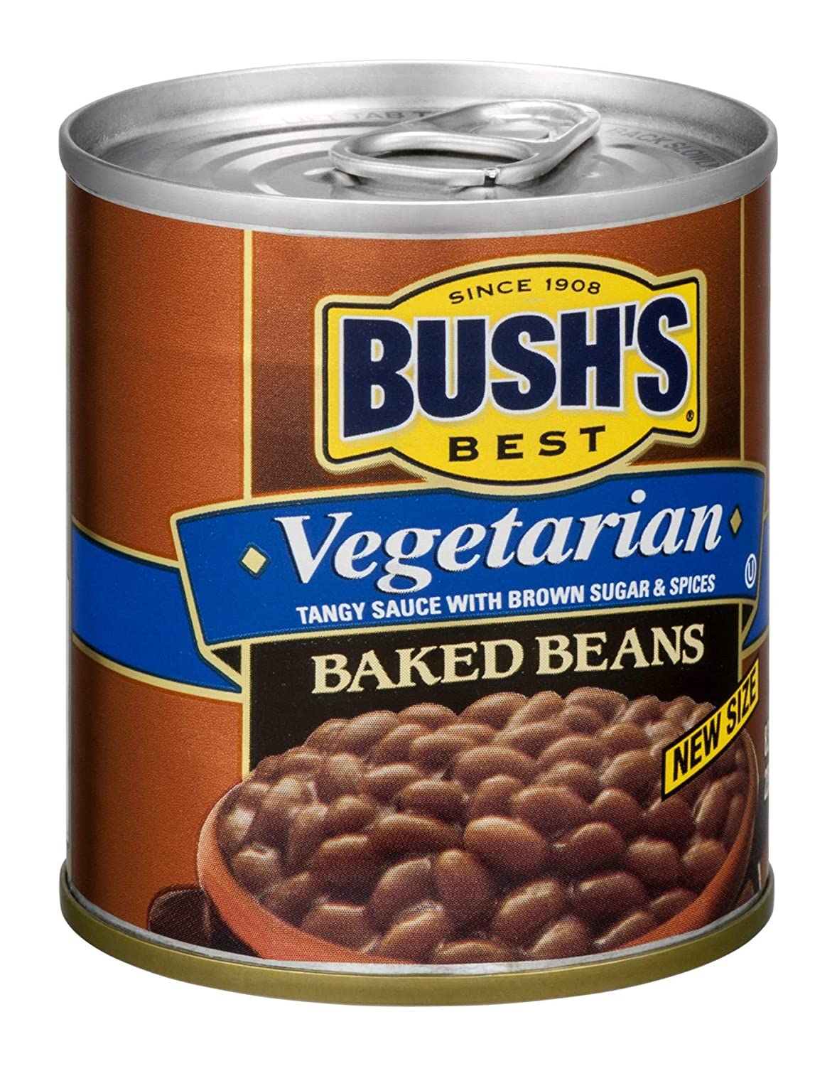 BUSH'S BEST Vegetarian Baked Beans, 8.3 Ounce Can (Pack of 12), Canned Beans, Baked Beans Canned, Vegetarian Food, Kosher, Source of Plant Based Protein and Fiber, Low Fat, Gluten Free