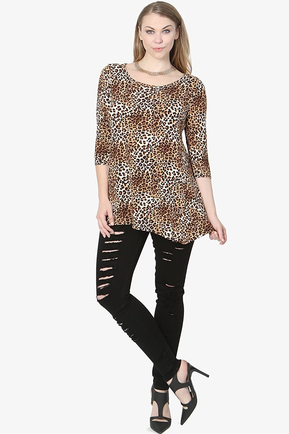 TheMogan Curve Leopard Print Jersey Button Accent 3//4 Sleeve Tunic Top