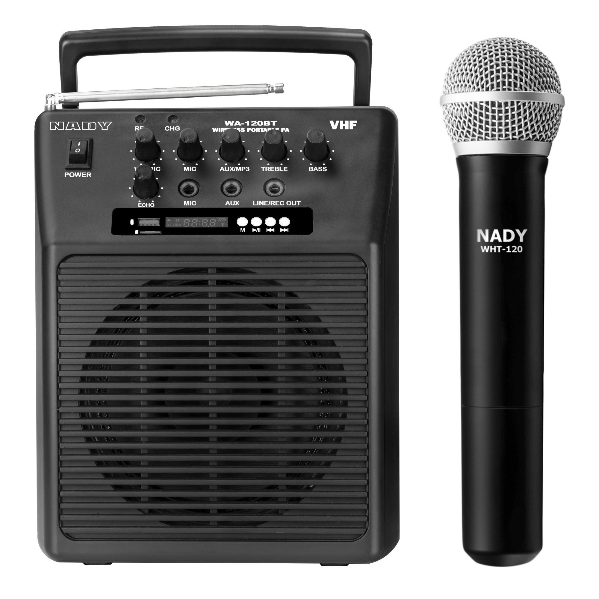 Nady WA-120BT HT Wireless Portable compact P.A full-range speaker system with built-in amplifier, BLUETOOTH, mp3 player, mixer, handheld wireless microphone by Nady