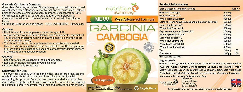 Garcinia Cambogia PURA (1 mes): suplemento en cápsulas para perder peso, que actúa RÁPIDAMENTE sobre el METABOLISMO, quita el hambre y tiene un efecto ...