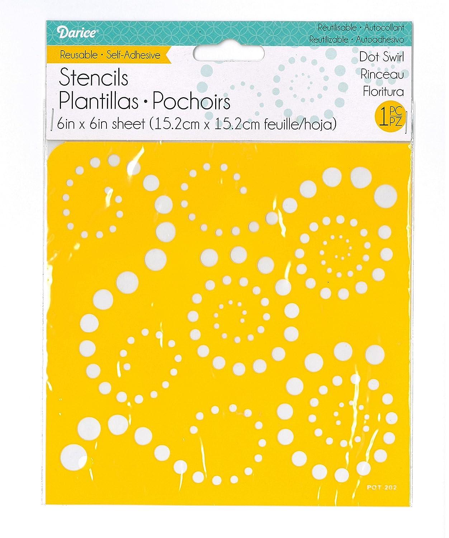 Darice 121730 6 by 6 Self Adhesive Stencil Dot Swirl