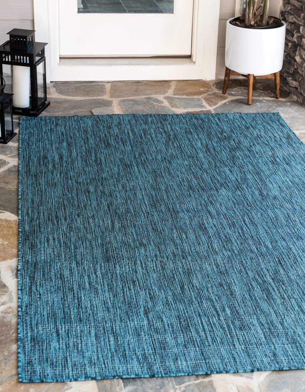 Unique Loom Outdoor Solid Collection Casual Transitional Indoor and Outdoor Flatweave Teal Area Rug 9 0 x 12 0