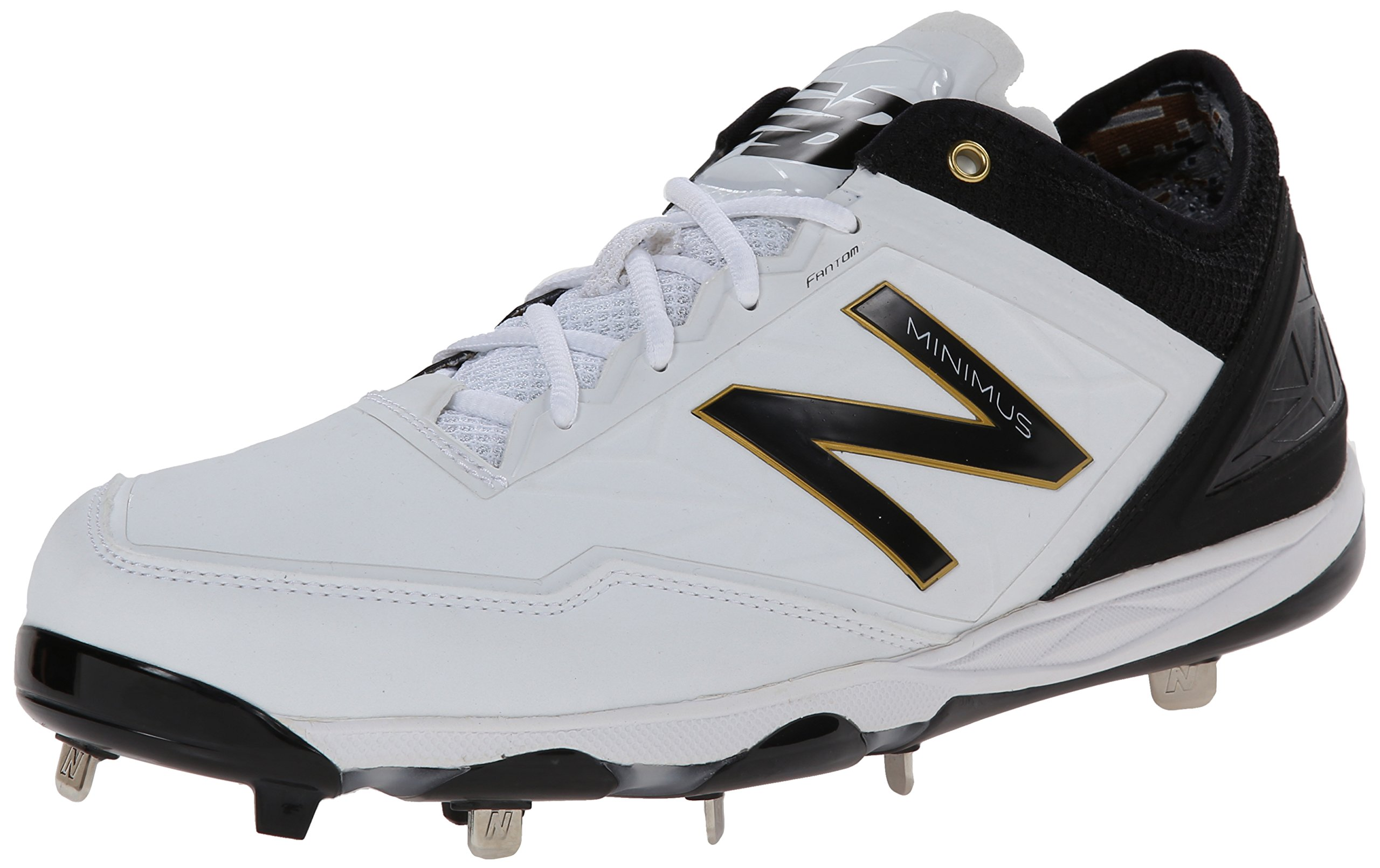 New Balance Men's MBB Minimus Low Baseball Shoe,White/Black,12 D US