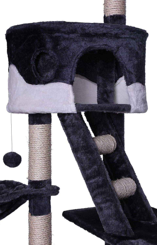 Dibea KB00405, Árbol Rascador Escalador para Gatos, 240-260 cm, Altura Ajustable Del Techo, gris y blanco: Amazon.es: Productos para mascotas