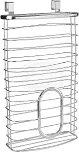 Ybmhome Over-the-Cabinet Kitchen Storage Grocery Bag Plastic Carrier Shopping Bag and Garbage Bag Holder Saver Dispenser Rack Stainless Steel 2216 (1)