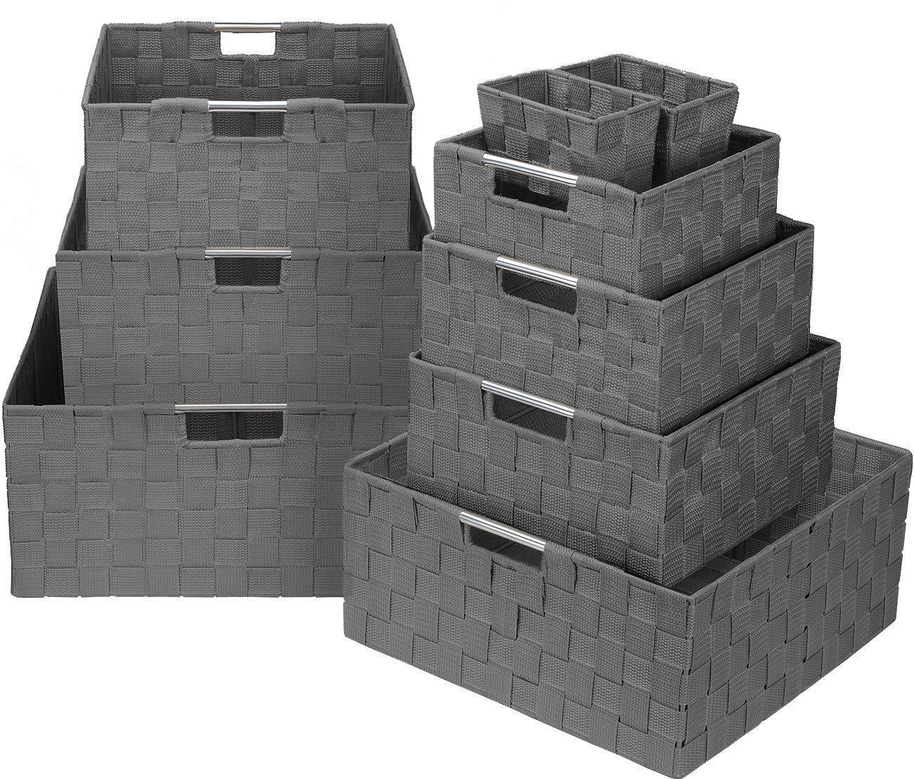 Sorbus Storage Box Woven Basket Bin Container Tote Cube Organizer Set Stackable Storage Basket Woven Strap Shelf Organizer Built-in Carry Handles (Gray)