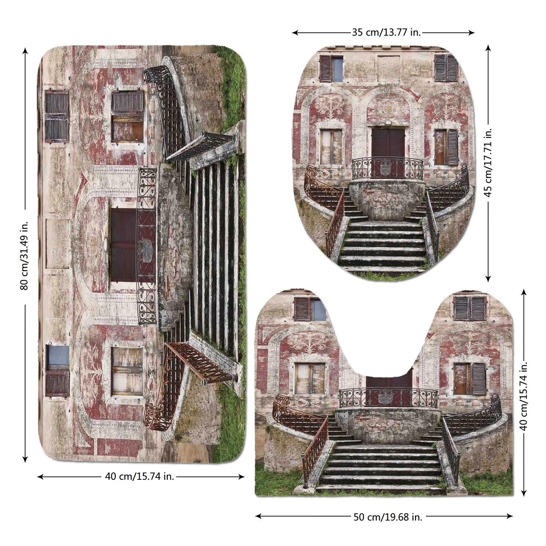 3 Piece Bathroom Mat Set,Tuscan,Rustic Window Old Wooden Shutter Flower Pot on Medieval Stone Wall,Burgundy Ivory and Grey,Bath Mat,Bathroom Carpet Rug,Non-Slip