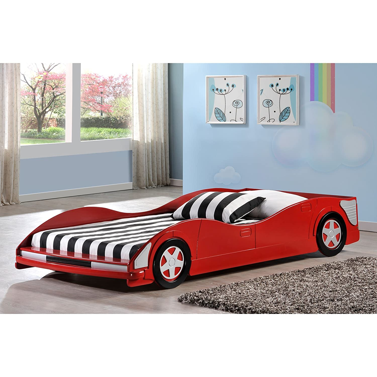 Uncategorized Bed Car amazon com twin car bed in red toys games