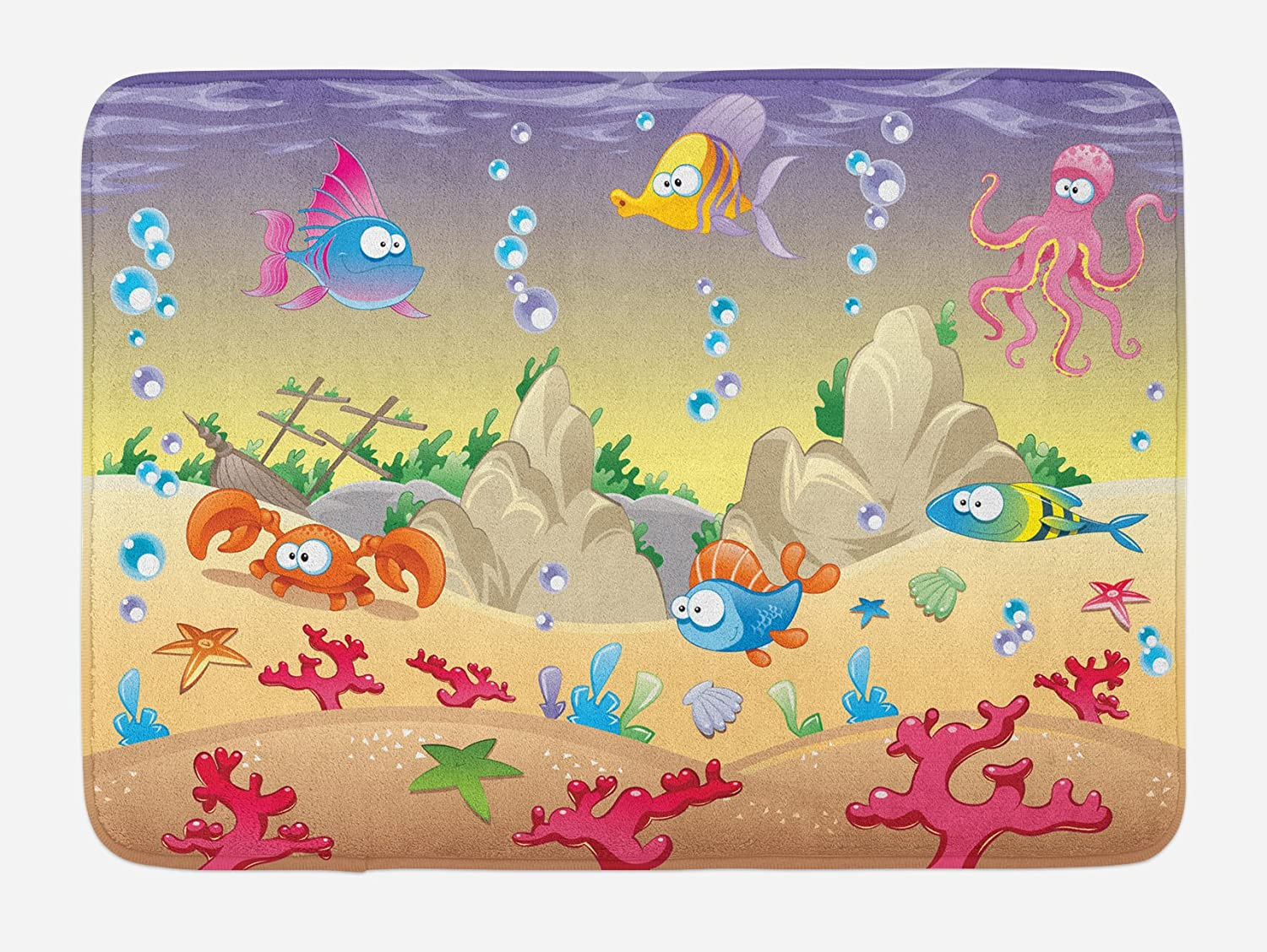 Ambesonne Underwater Bath Mat, Cartoon Design Funny Sea Animals Fishes Sunken Ship Coral Reef and Bubbles, Plush Bathroom Decor Mat with Non Slip Backing, 29.5