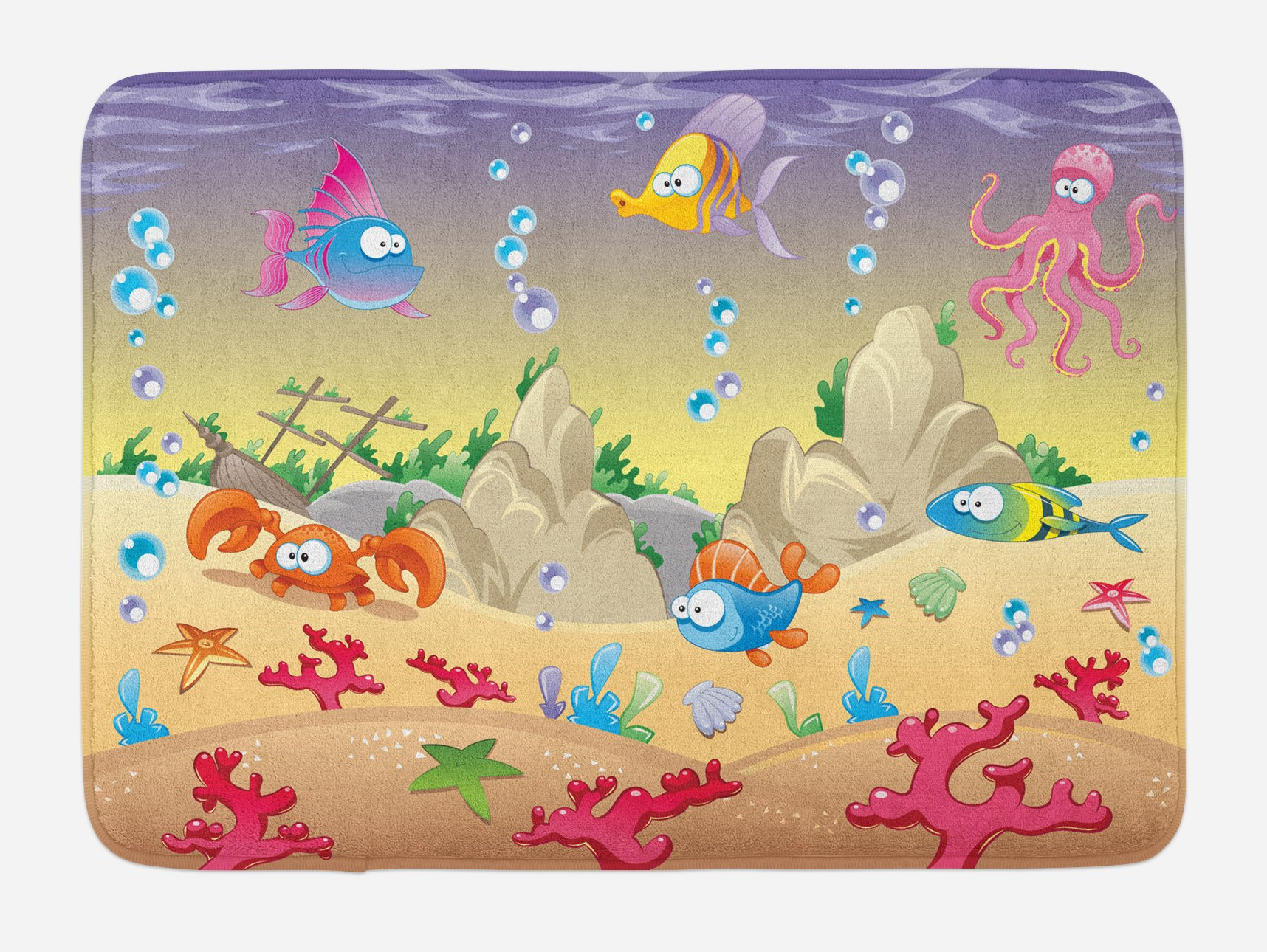 Ambesonne Underwater Bath Mat, Kids Cartoon Design Funny Sea Animals Fishes Sunken Ship Coral Reef and Bubbles, Plush Bathroom Decor Mat with Non Slip Backing, 29.5 W X 17.5 W Inches, Multicolor