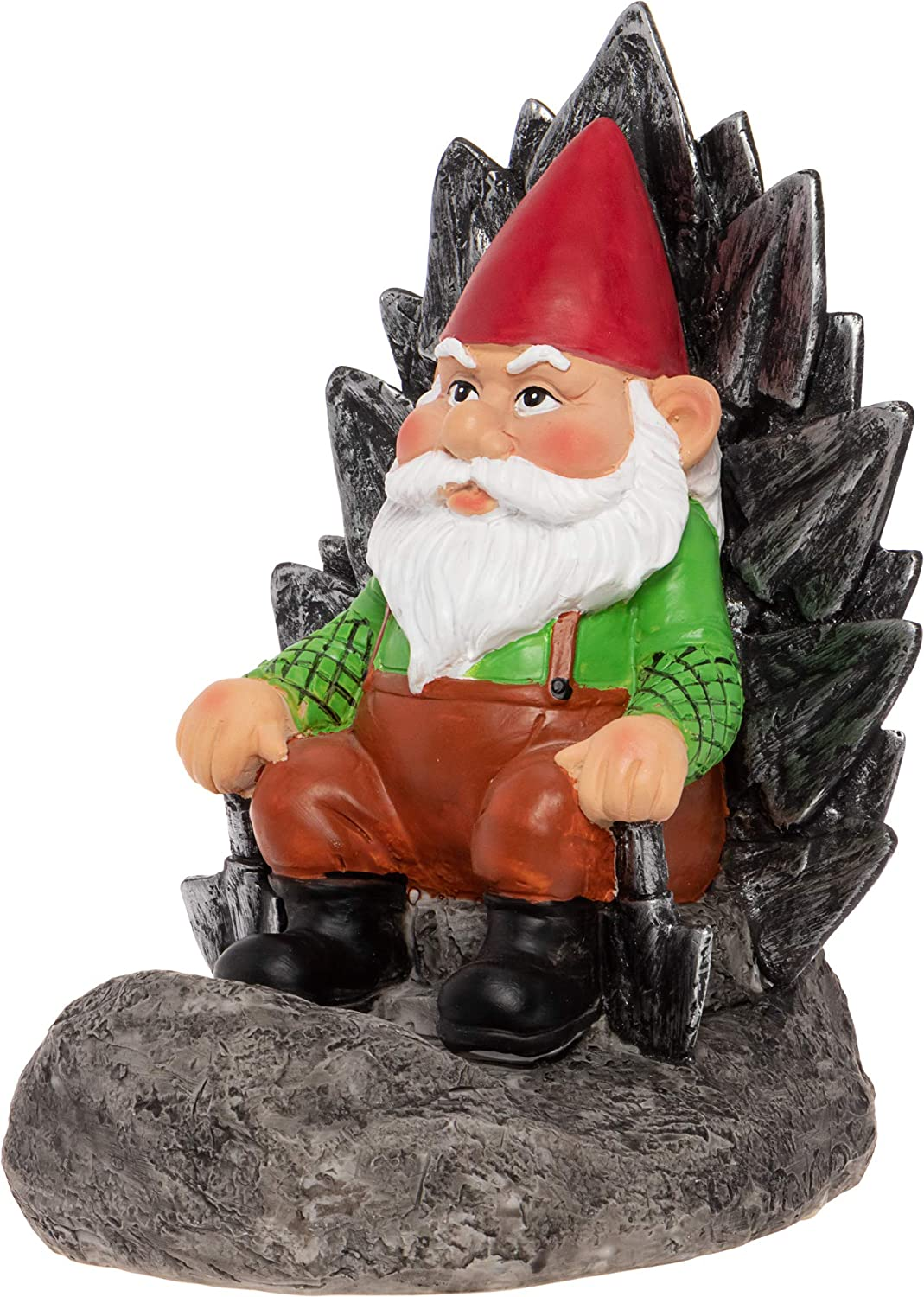 GreenLighting Solar Powered Gnome on a Throne Garden Gnome - Novelty Light Up Lawn Ornament Figurine