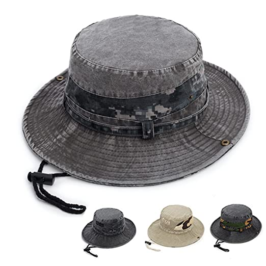 6e3f7aa248c Fonshow Jungle Camo Boonie Sun Hat Snap Wide Brim Caps Outdoor Fishing  Hunting Safari Cap (