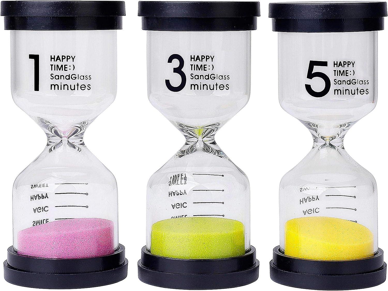 Reloj de Arena 3 Colores Temporizador de Arena 1/3/5 Mins para Niños Juegos de Cocina de Aula de Oficina de Decoración 3 Piezas