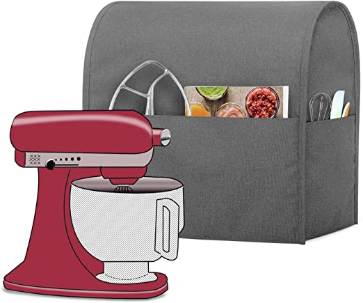 Gray Patented Design Luxja Dust Cover Compatible with 4.5-Quart and 5-Quart KitchenAid Mixers with a Bottom Padding Pad for Stand Mixers and Extra Accessories Dust Cover Clear Front Panel