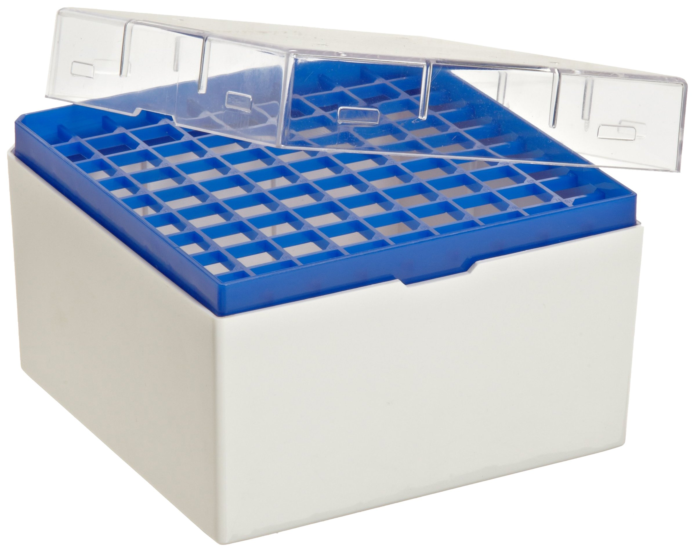 Bel-Art F18849-0002 Cryo-Safe Vial Storage Box; 81 Places, 5.0ml, Plastic, 5¼ x 5¼ x 3¾ in. (Pack of 4) by SP Scienceware (Image #2)