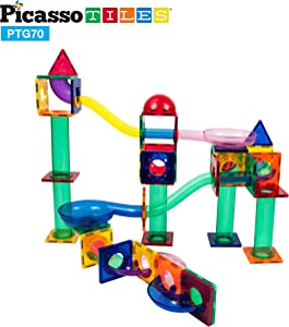 PicassoTiles 70 Piece Marble Run Race Track Magnetic Tiles Magnet Building Block Educational Construction Toy Set Playset STEM Learning Kit Child Brain Development HandEye Coordination Training PTG70