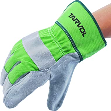 Leather Work Gloves - Split Leather Design - Heavy Duty Industrial Safety Gloves - Fits Both Men & Women - All-Season (Summer/Winter) - Perfect for Mechanics, Welding, Gardening, Driving, and More!