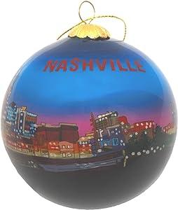 Hand Painted Glass Christmas Ornament - Nashville, Tennessee Night Skyline