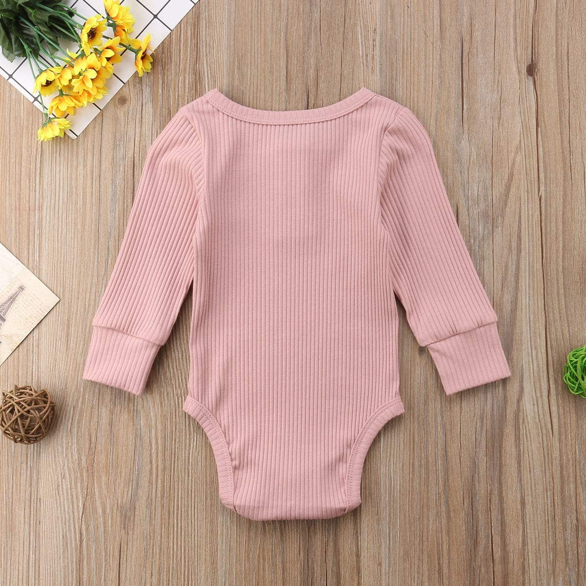 Luckinbaby Newborn Unisex Baby Solid Onesies Basic Plain Rib Stitch Long Sleeve Bodysuit Clothes for Infant Boy Girl