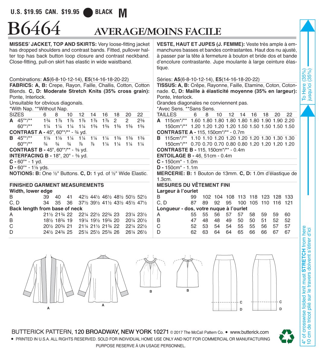 Butterick Patterns 6464 E5,Misses Jacket,Top and Skirts,Sizes 14-22 17 x 0.5 x 22 cm Tissue Multicoloured