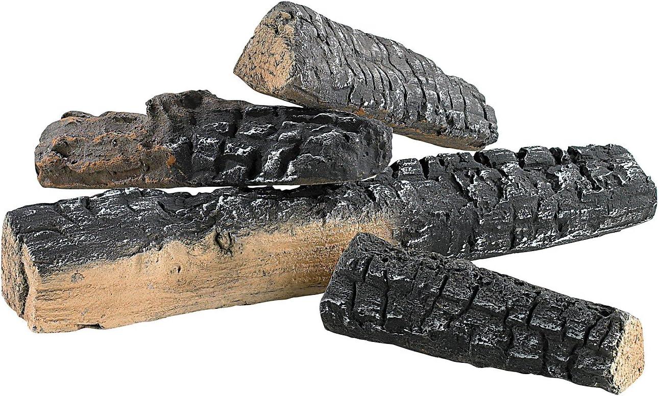 Leña Carlo Milano:Decoración en cerámica con leña para Horno de bioetanol (4Unidades)(Piedras Decorativas para el Fuego)