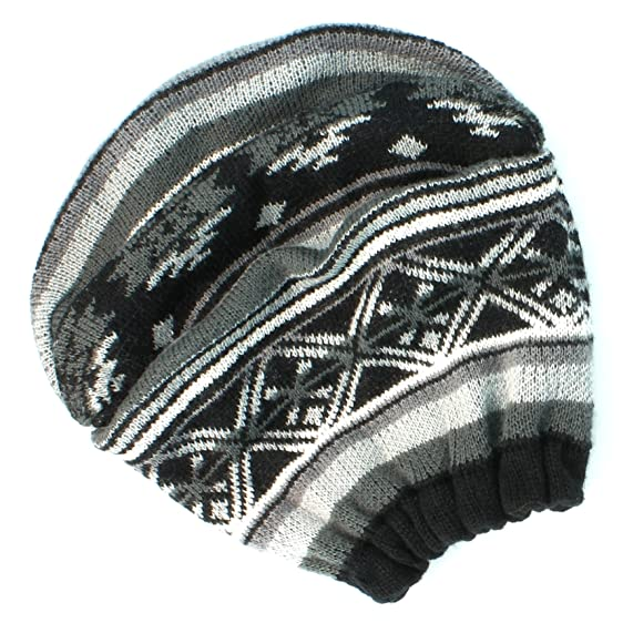 Mudd Junior Girls Slouch FairIsle Beanie - black white at Amazon ...