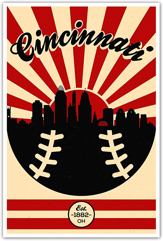 Amazon Com Artsycanvas Cincinnati Reds Vintage Baseball Poster 12x18 Posters Prints