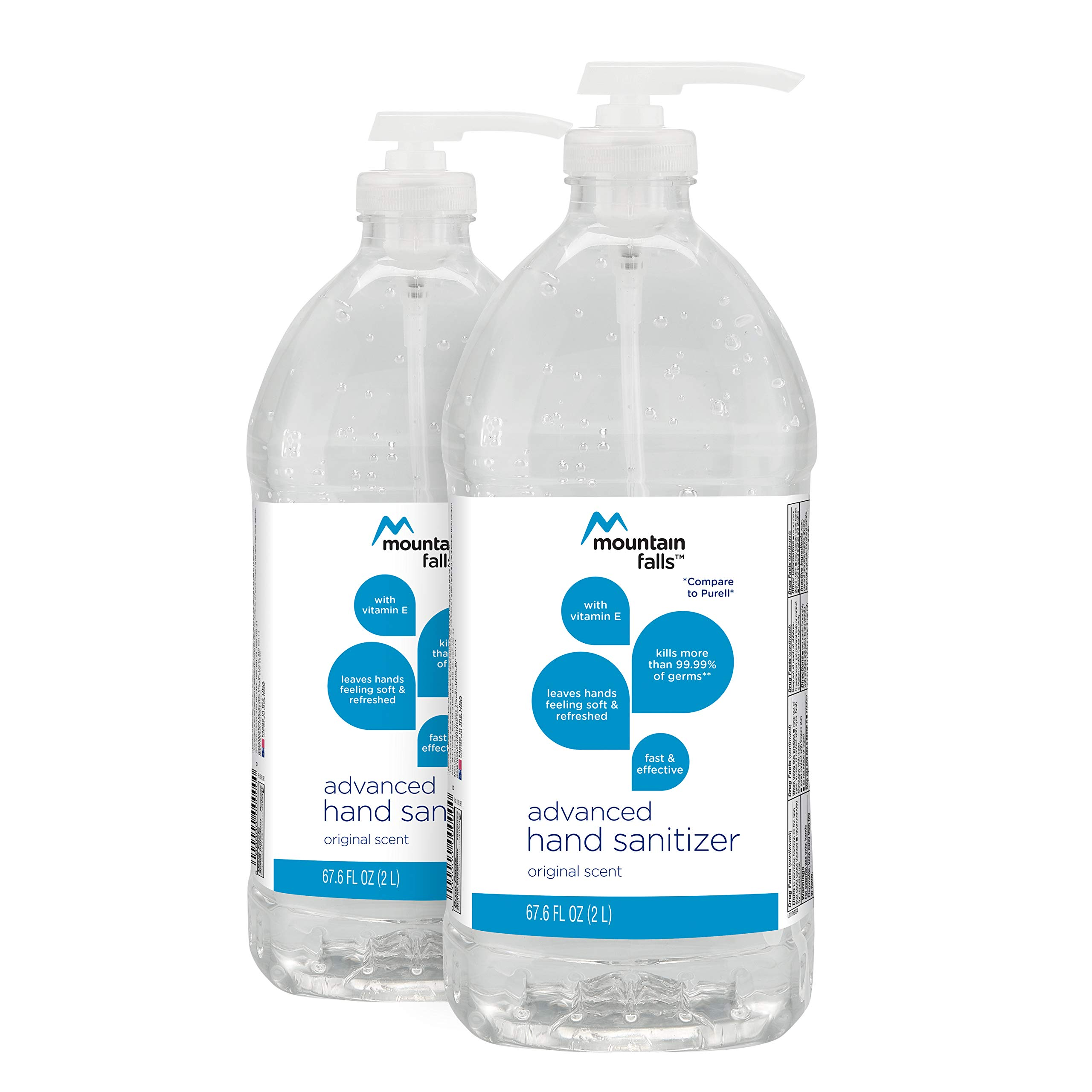 Mountain Falls Advanced Hand Sanitizer with Vitamin E, Original Scent, Pump Bottle, 67.59 Fluid Ounce (Pack of 2)