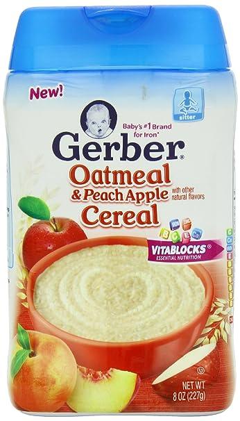 Cereal Gerber Baby, harina de avena melocotón Apple, 8 ounce ...