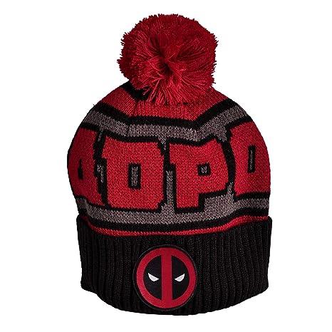 Deadpool Logotipo de Gorrita Tejida pompón Marvel Elbenwald Negro Rojo