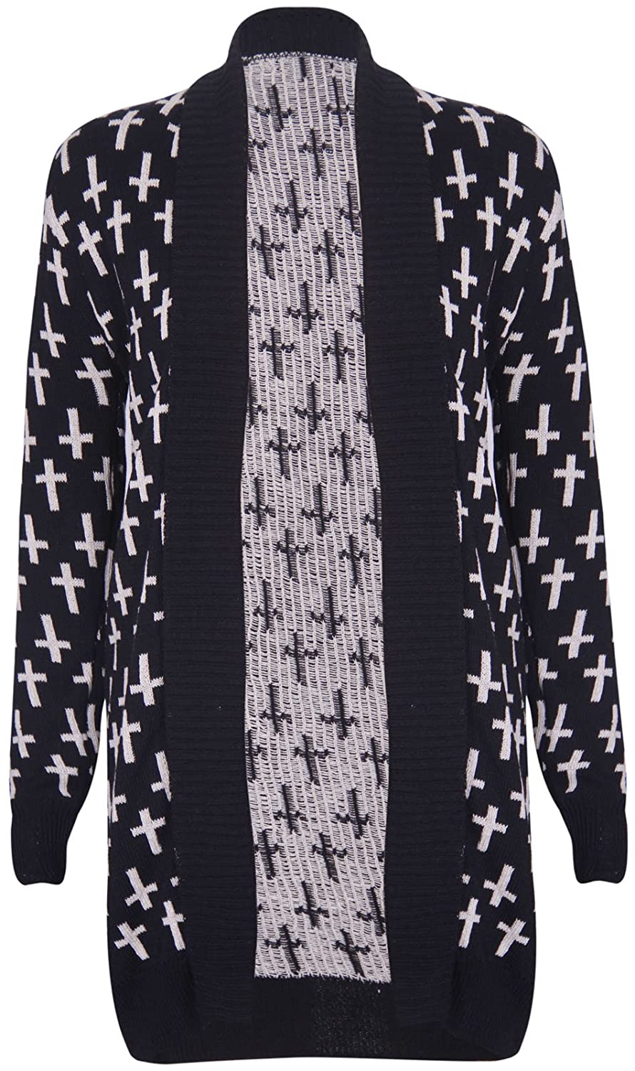 Womens Long Sleeves Front Open Skull /& Owl Knitted Cardigan Top