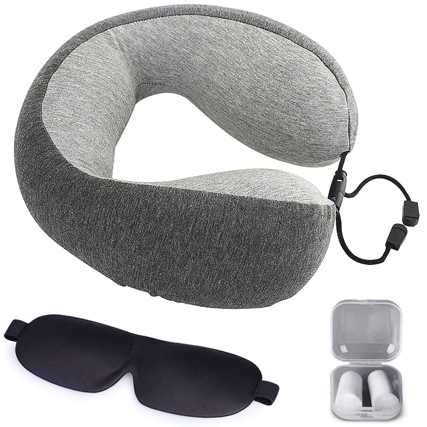 Memory Foam Travel Pillow - Airplane Neck Pillow with Washable Cover, Ear Plugs and Eye Mask for Superior Comfort Breathable Pillow Gray by The Comfort Brand Fab Products