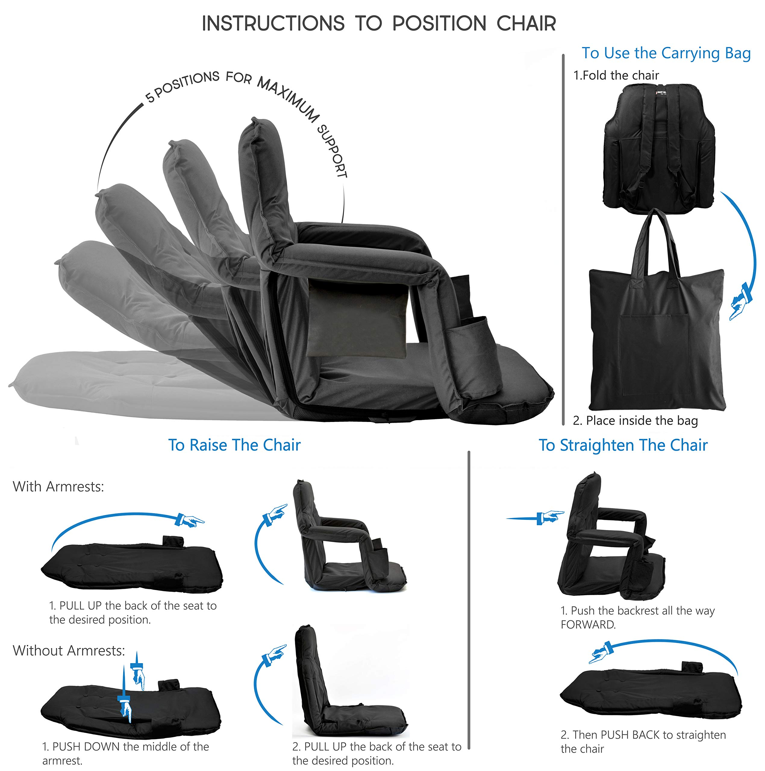 Foldable Stadium Seat for Bleachers - New & Improved 2019 Deluxe Model + Free Carry/Storage Bag- Water Resistant + Thick Padding +2 Drink Holders +Zipped Pocket (Black, Standard Size) by Smart Ideas for Life