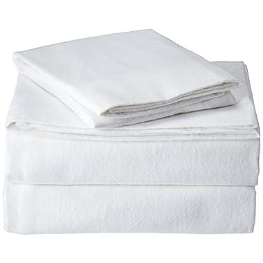 Brielle 100-Percent Cotton Flannel 6 Piece Sheet Set, Queen, White
