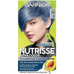 Garnier Nutrisse Ultra Color Nourishing Hair Color Creme, DN1 Light Cool Denim (Packaging May Vary), Pack of 1