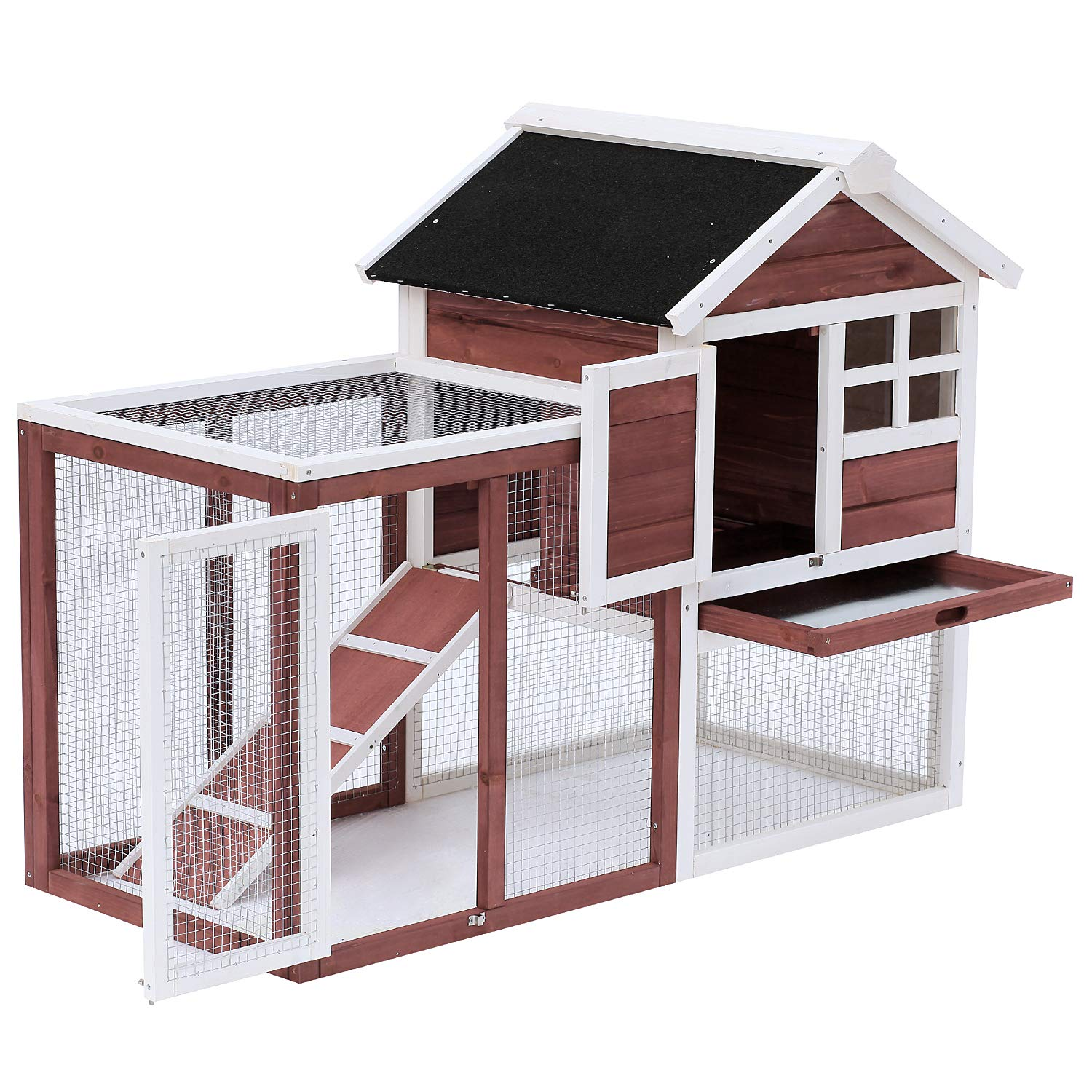 PawHut 48  x25 x36  Wooden Rabbit Hutch Backyard Bunny Cage Small Animal House w Ladder and Outdoor Run