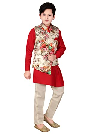 755ab2a83fc1 Qtsy Kids Indian Ethnic Designer Collection Waistcoat Kurta and Pant Set  for Boys, party(Red): Amazon.in: Clothing & Accessories