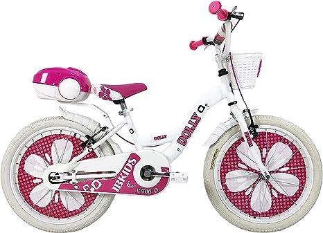 IBK - Bicicleta de niña de 20 Pulgadas Dolly con Esfera de radios Ajustables, Frenos V-Brake, Color Rosa y Blanco, Blanco: Amazon.es: Deportes y aire libre
