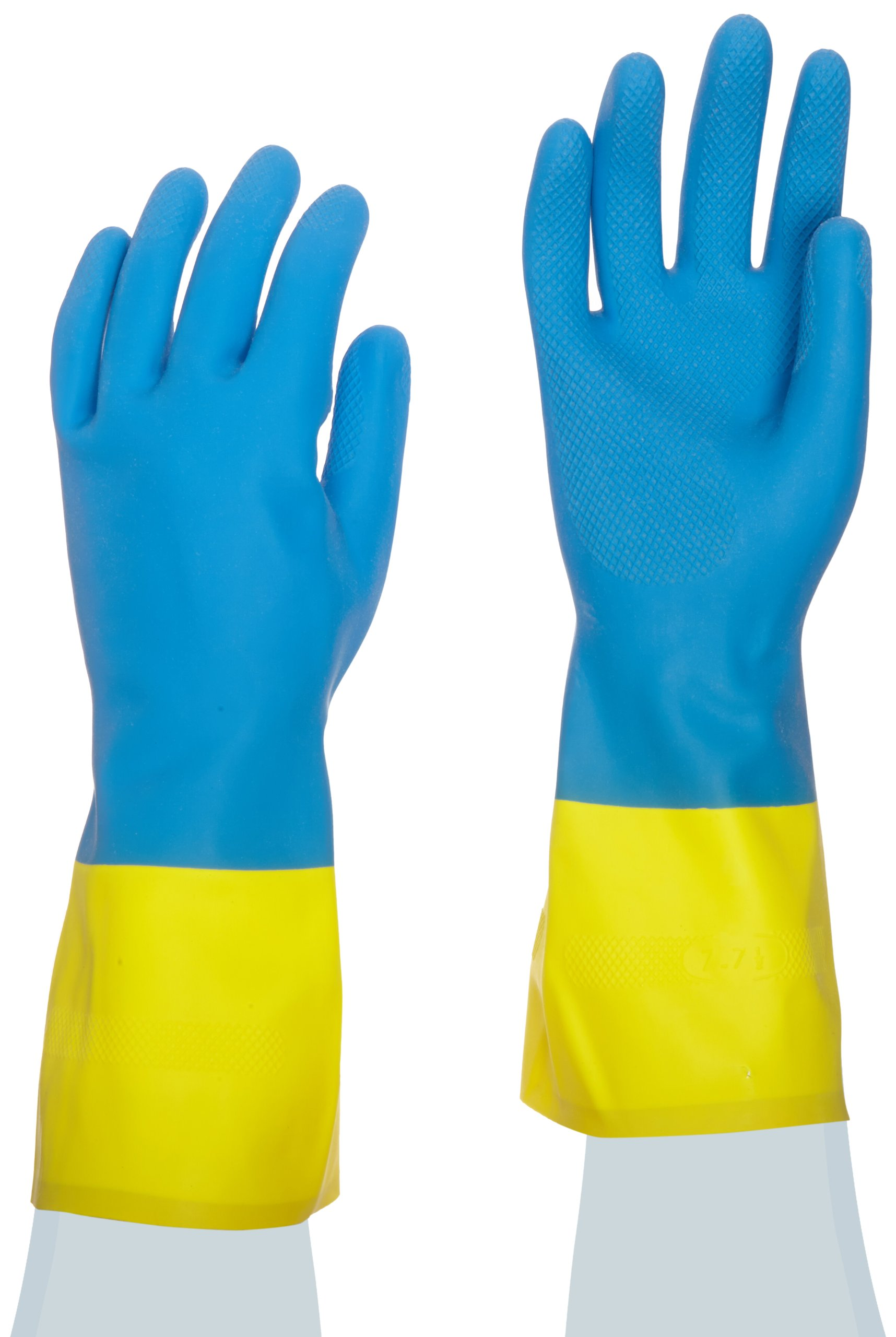 MAPA Two-Tone NS-53 Neoprene and Natural Latex Glove, Chemical Resistant, 0.028'' Thickness, 13'' Length, Size 7, Blue/Yellow (Bag of 12 Pairs)