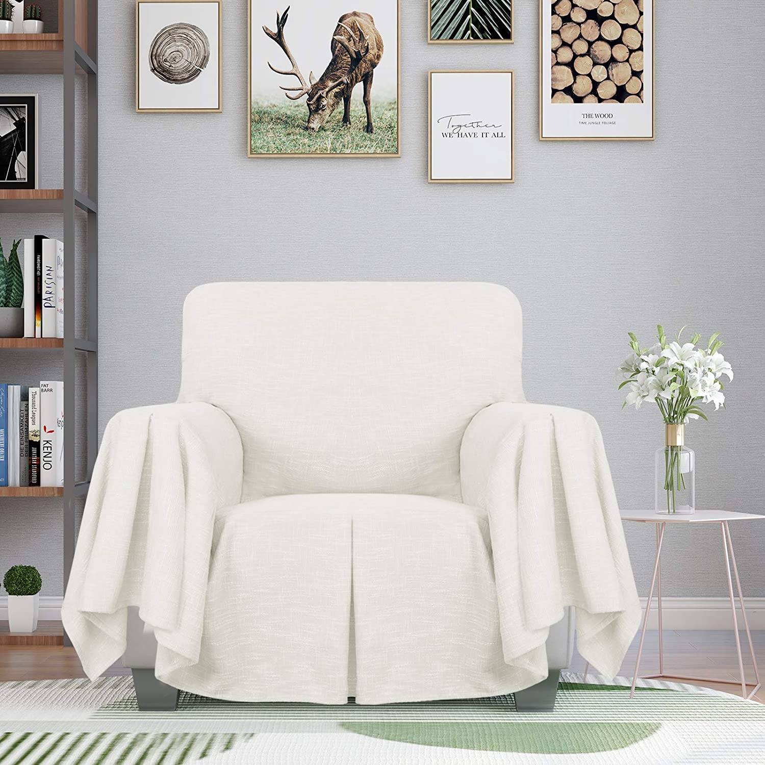 ZNSAYOTX 1 Piece Chair Throw Covers with Arms All Purpose Armchair Slipcovers for Living Room Elastic Slip Cover Pet Dog Washable Furniture Protector with Ruffles (Chair, Off White)