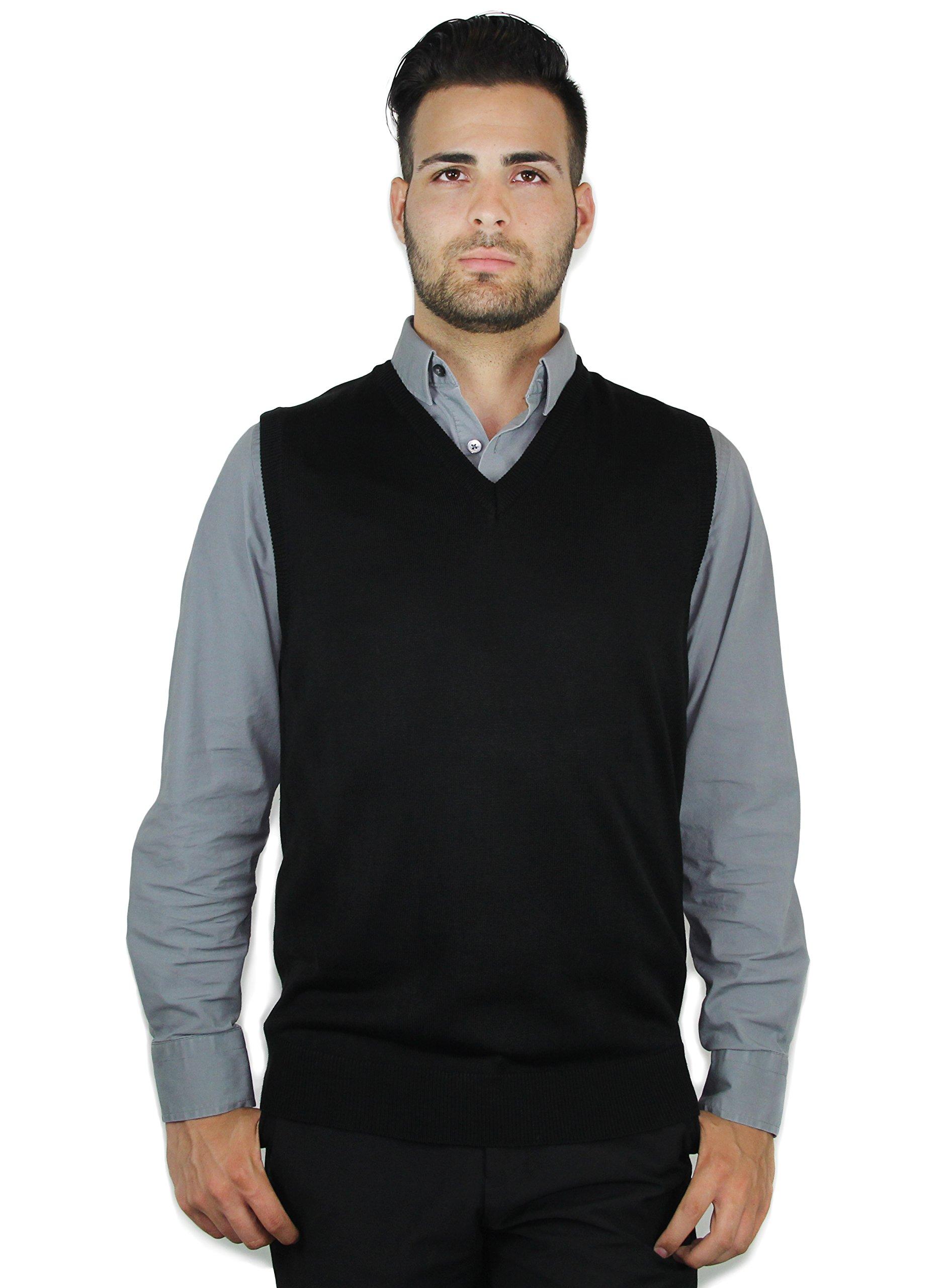 Blue Ocean Solid Color Sweater Vest Black X-Large