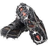 AUHIKE Ramponi ad Artiglio a 18 Denti l Copriscarpe antiscivolo con catena in acciaio inossidabile per camminare su neve e ghiaccio (S)