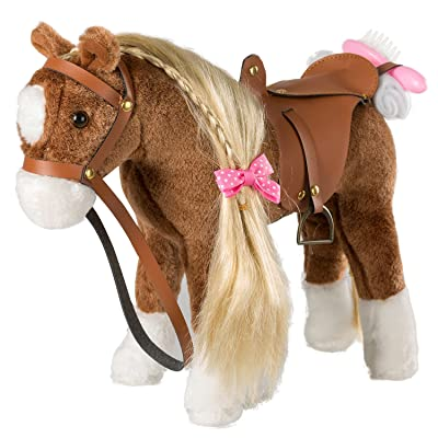 iBonny Plush Horse with Blond Hair Pretend Play Stuffed Animal Horse Toys for Girls: Toys & Games