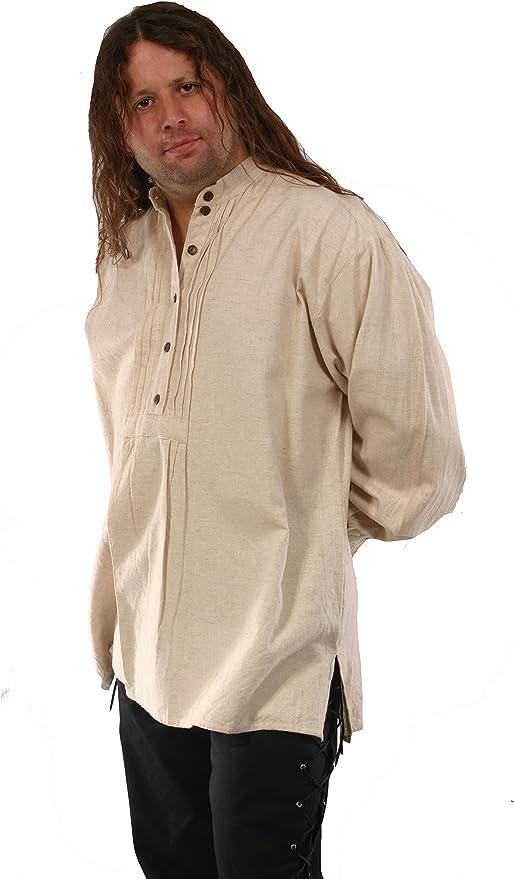 Bares - Camisa de disfraz de pirata para hombre (80% algodón, 20 ...