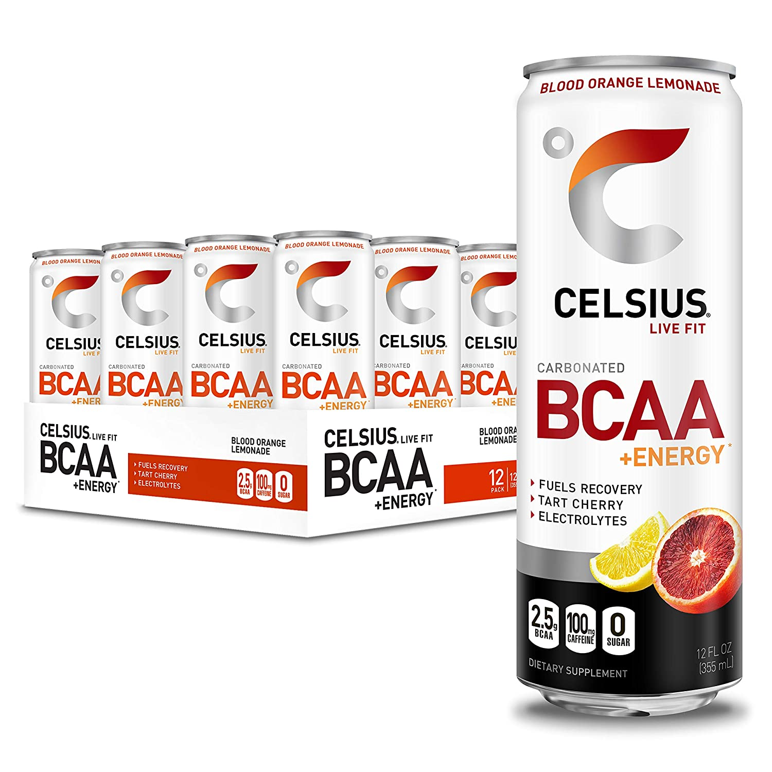 CELSIUS BCAA +Energy Sparkling Post-Workout Recovery & Hydration Drink, Blood Orange Lemonade, 12oz. Slim Can, 12 Pack